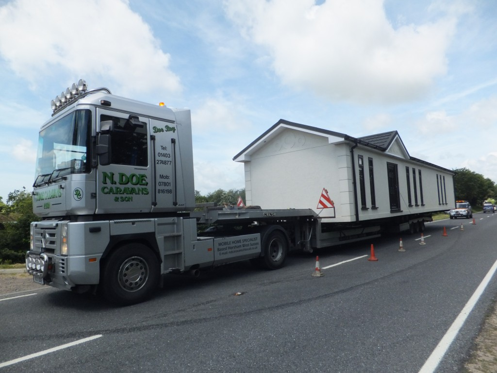 Caravan transport on the road