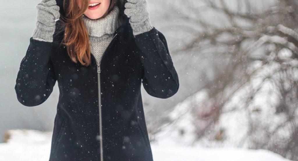 woman walking in winter snow