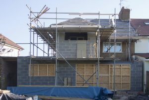 house under renovation on site